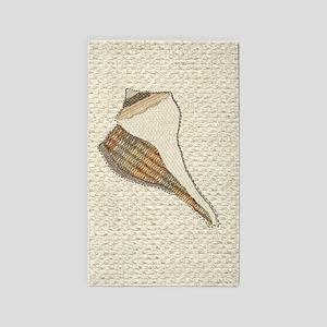 Unique Seashell Art Fabric Collage 3'x5' Area Rug