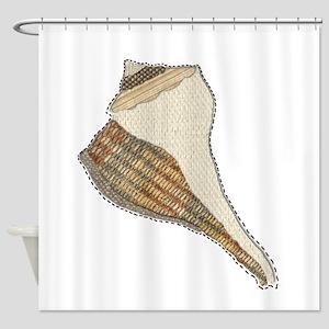 Unique Seashell Art Fabric Collage Shower Curtain