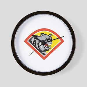 Angry Bulldog Mongrel Head Diamond Cartoon Wall Cl