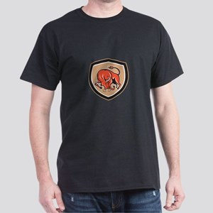 Angry Bull Charging Shield Cartoon T-Shirt