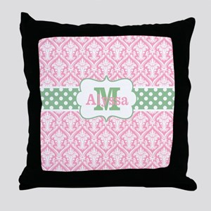 Pink Green Damask Dots Personalized Throw Pillow