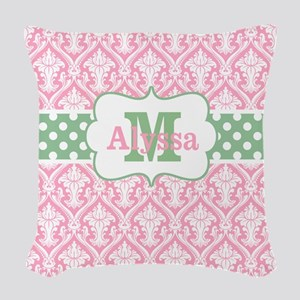 Pink Green Damask Dots Personalized Woven Throw Pi