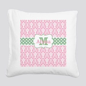 Pink Green Damask Dots Personalized Square Canvas