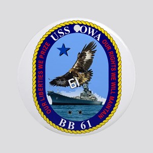 USS Iowa BB-61 Ornament (Round)