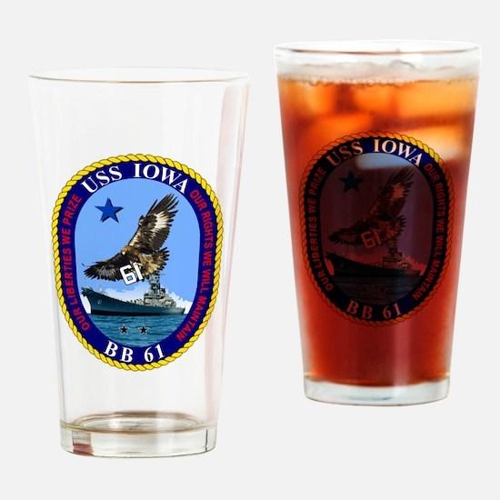 USS Iowa BB-61 Drinking Glass