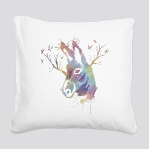 Donkey & Watercolor Square Canvas Pillow