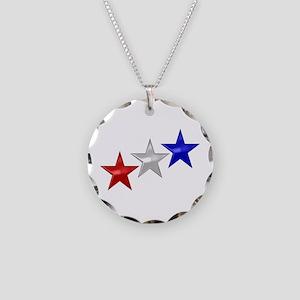 Three Shiny Stars Necklace Circle Charm