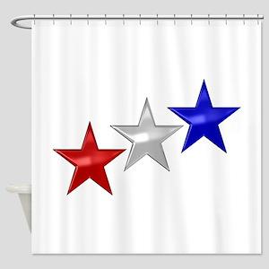 Three Shiny Stars Shower Curtain