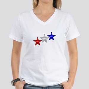 Three Shiny Stars Women's V-Neck T-Shirt