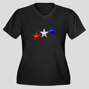 Three Shiny Women's Plus Size V-Neck Dark T-Shirt