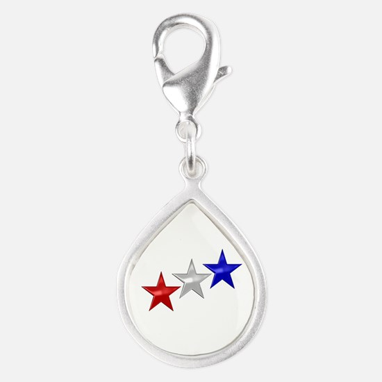 Three Shiny Stars Silver Teardrop Charm