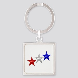 Three Shiny Stars Square Keychain