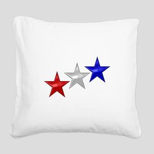 Three Shiny Stars Square Canvas Pillow