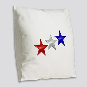 Three Shiny Stars Burlap Throw Pillow