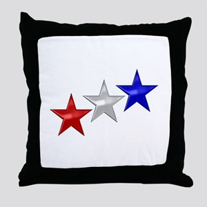 Three Shiny Stars Throw Pillow