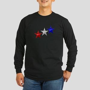 Three Shiny Stars Long Sleeve Dark T-Shirt