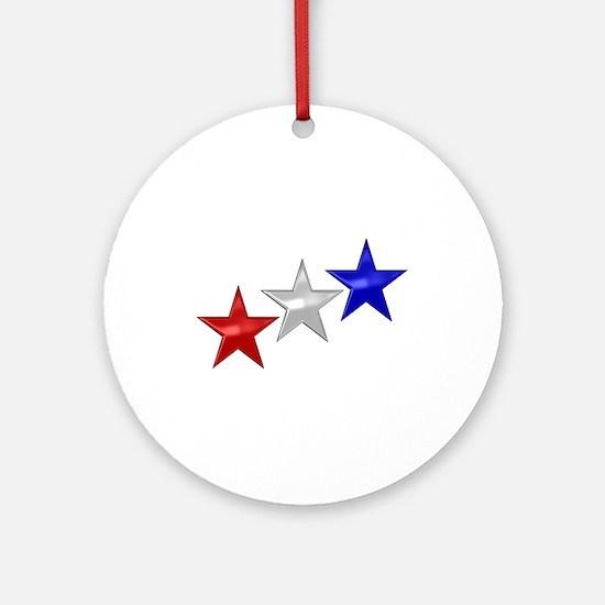 Three Shiny Stars Ornament (Round)