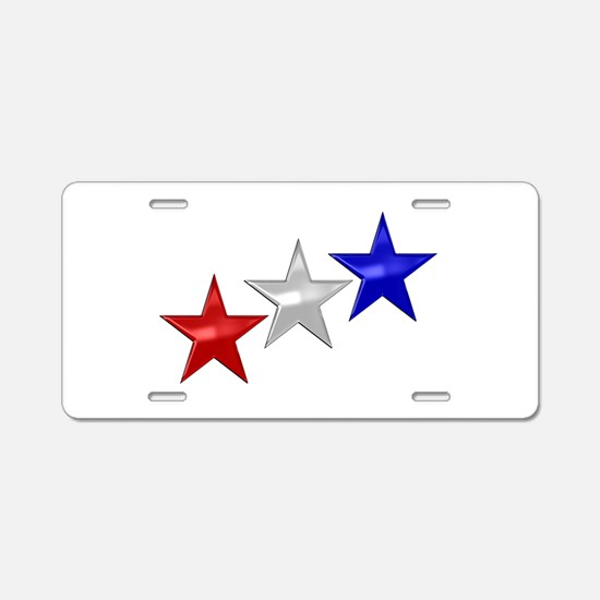 Three Shiny Stars Aluminum License Plate