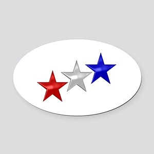 Three Shiny Stars Oval Car Magnet