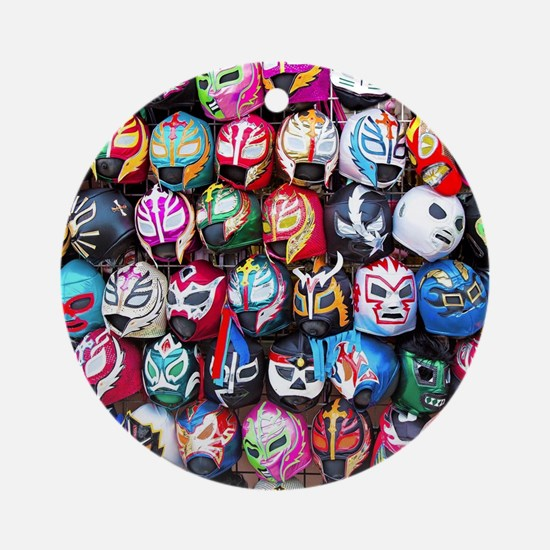 Mexican Wrestling Masks Round Ornament