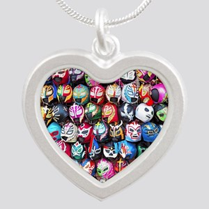 Mexican Wrestling Masks Silver Heart Necklace