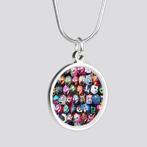 Mexican Wrestling Masks Silver Round Necklace