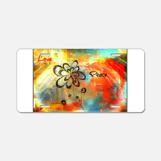 Abstract Peace Aluminum License Plate