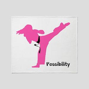 Martial Artist Female Throw Blanket