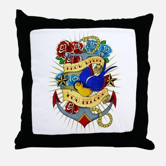 Old School Tattoo Anchor Throw Pillow