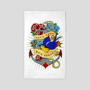 Old School Tattoo Anchor 3'x5' Area Rug