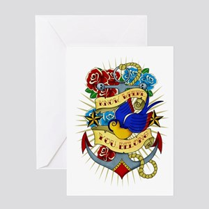 Old School Tattoo Anchor Greeting Cards