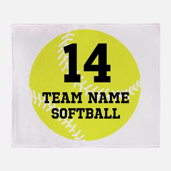 Personalize Softball Throw Blanket
