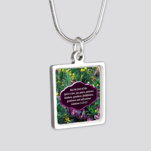 GALATIANS 5 Silver Square Necklace