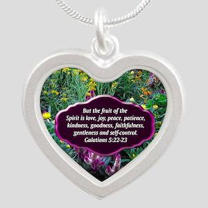 GALATIANS 5 Silver Heart Necklace
