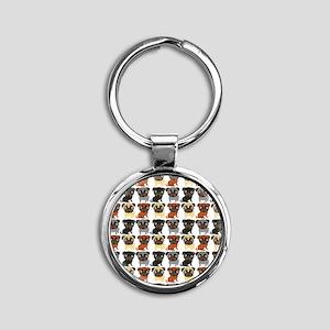 Just Pugs! Round Keychain