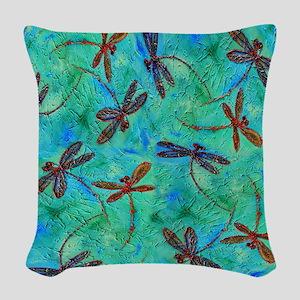 Dragonfly Dance Woven Throw Pillow