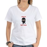 Ninja Bus Boy Women's V-Neck T-Shirt