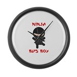 Ninja Bus Boy Large Wall Clock