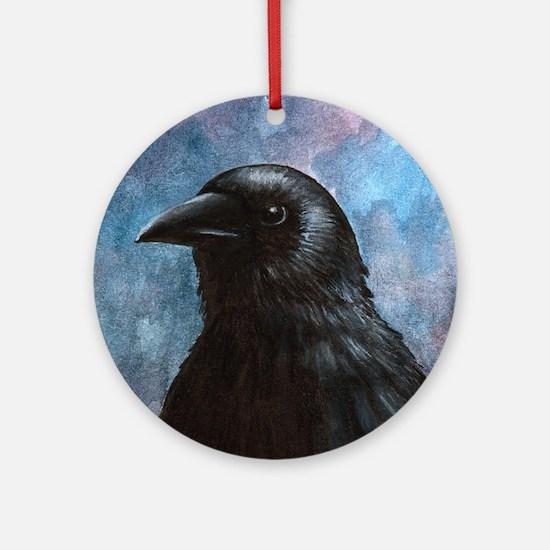 Bird 59 crow raven Round Ornament