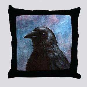 Bird 59 crow raven Throw Pillow