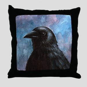 Bird 59 crow raven Throw Pillow