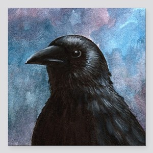 "Bird 59 crow raven Square Car Magnet 3"" x 3"""
