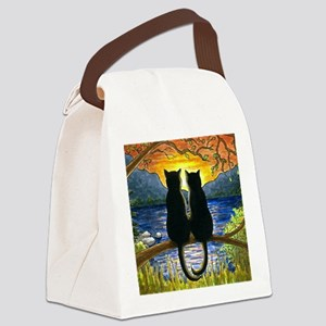 Cat 582 black cats Canvas Lunch Bag