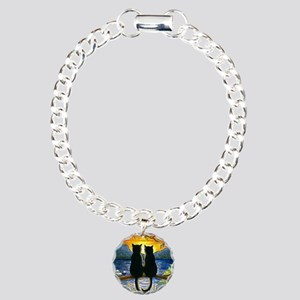 Cat 582 black cats Charm Bracelet, One Charm