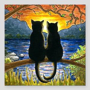 "Cat 582 black cats Square Car Magnet 3"" x 3"""