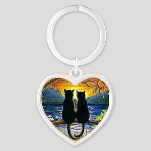 Cat 582 black cats Heart Keychain