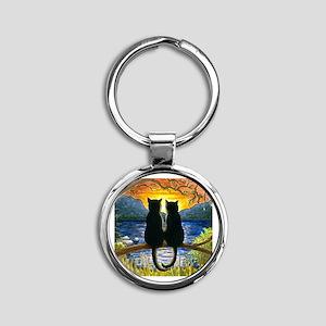Cat 582 black cats Round Keychain