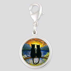 Cat 582 black cats Silver Round Charm