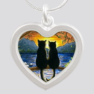 Cat 582 black cats Silver Heart Necklace