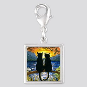 Cat 582 black cats Silver Square Charm